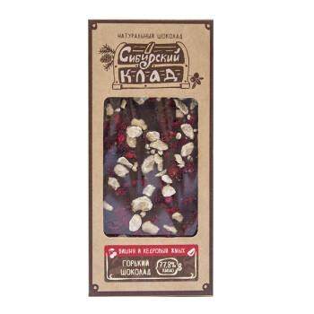 """30 грамм, Горький шоколад """"Вишня и кедровый жмых"""""""
