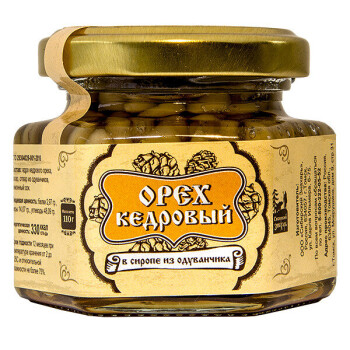 КЕДРОВЫЙ ОРЕХ В СИРОПЕ ИЗ ОДУВАНЧИКА, 110 г